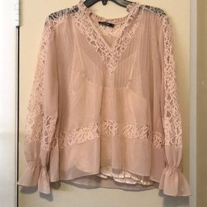 Love Sam Pink blouse with lace detail.